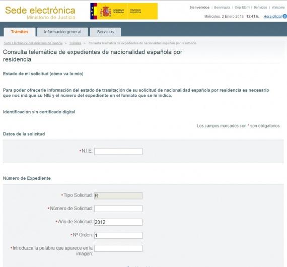 Consulta estado expediente de nacionalidad española